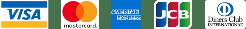 VISA (ビザ) / JCB (ジェイシービー) / MasterCard (マスターカード) / American Express (アメリカンエキスプレス / アメックス) / Diners Club (ダイナースクラブ)